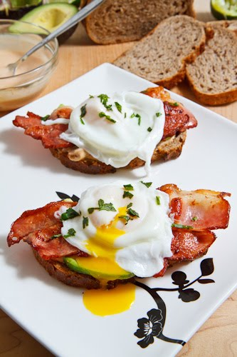 Poached Egg on Toast with Chipotle Mayonnaise, Bacon and Avocado 500 ...
